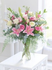 Pink Sophistication Rose, Lily & Lisianthus Vase