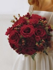 Scarlet Rose & Berry Bridal Bouquet